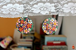 "wooden earrings ""Flower glade"""