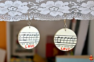 "wooden earrings ""all you need is LOVE"""