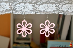"wooden earrings ""Pink flower"""