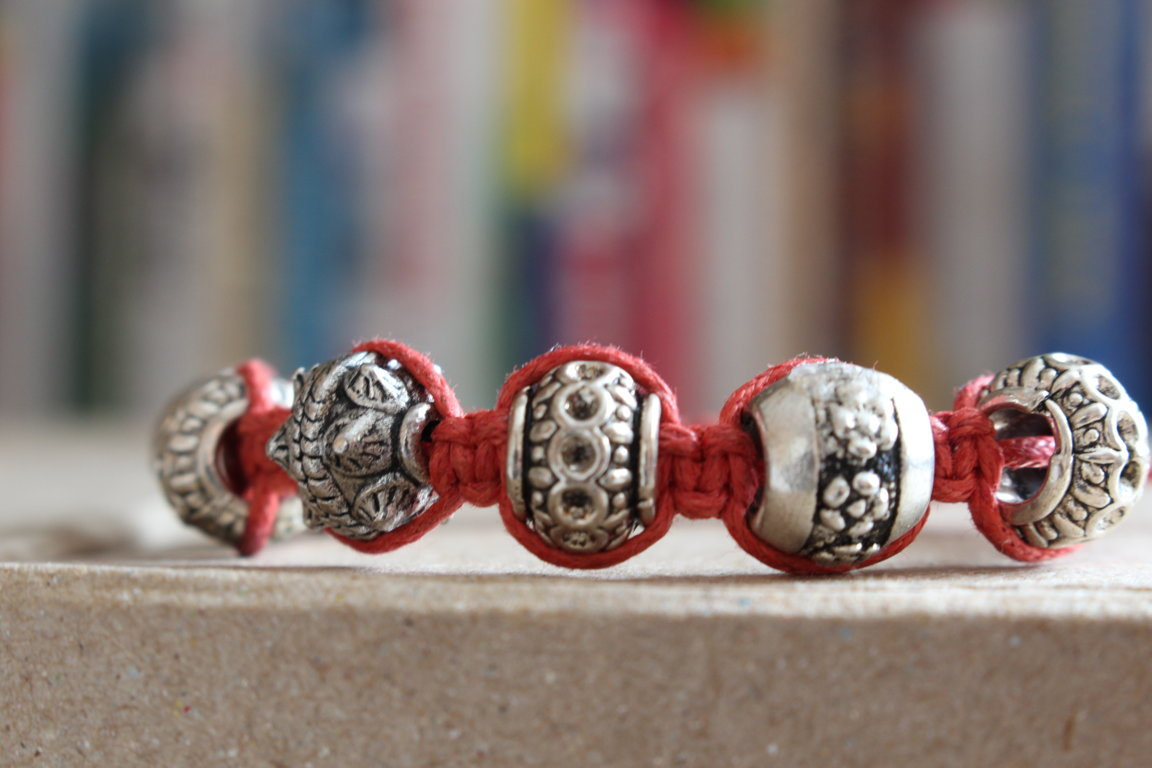 "Shamballa bracelet with Pandora beads ""Metal barrel"""